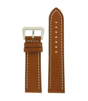 Tech Swiss Watch Band Leather Lite Brown White Stitching Heavy Buckle Mens 22 millimeter