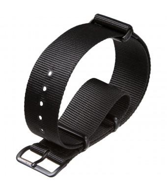 G10 UK MOD Nylon Military Watch Band by ZULUDIVER, IPB, Black, 20mm