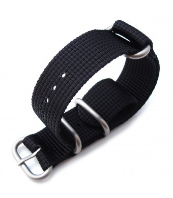 MiLTAT 20mm 3 Ring Zulu military watch strap 3D woven Thick Nylon - Matte Black, Brushed Hardware