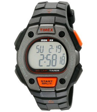 Timex Men's TW5K909009J Ironman Classic 30 Digital Silver-Tone, Orange, and Black Watch