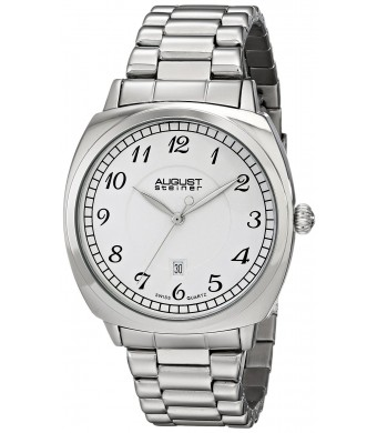 August Steiner Men's AS8160SS Silver-Tone Watch with Link Bracelet