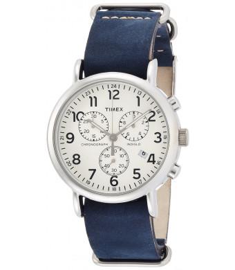 Timex Beige Dial Stainless Steel Leather Chrono Quartz Men's Watch TW2P62100