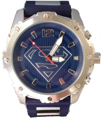 DC Comics Superman Watch with Stainless Steel Case and Accents on Band (SUP9196)