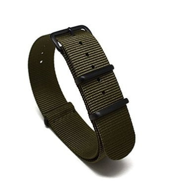 Nato Skull 20mm NATO Watch Band Strap with PVD Buckles in Military Green