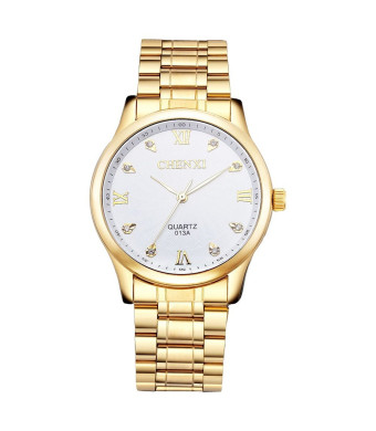 Foxqueena Fq-003 IP Gold plating Steel Roman Numeral Dail With Rhinestones Mens Wrist Watches For Man white