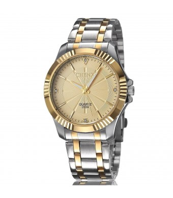 Foxqueena Fq-005 Silver Golden Stainless Steel Classic Style Mens Wrist Watches With Diamonds For Man Gold