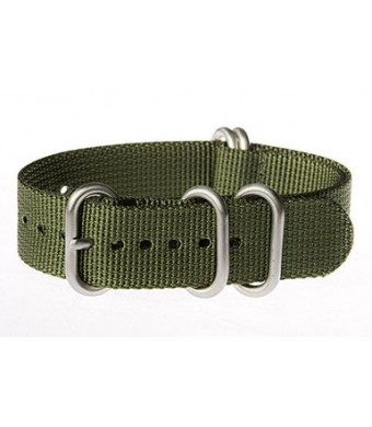 OhFlash 22mm [Solid Olive] Zulu G10 Nylon Nato Militaty Watch Band Strap with Polished Rings