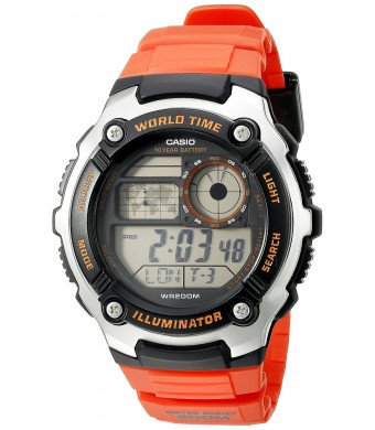 Casio Men's AE-2100W-4AVCF Digital 10-Year Battery Digital Display Quartz Orange Watch