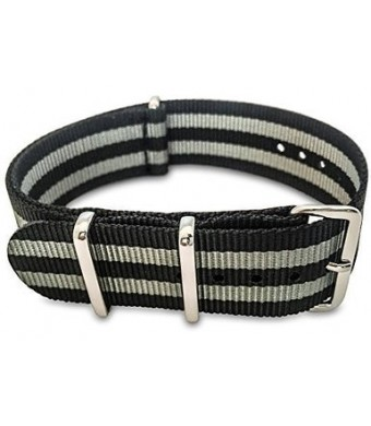 Shark Straps - 20mm Black and Gray Striped Nylon Strap - Black and Grey James Bond Style