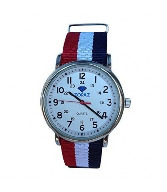 Topaz Unisex T10BZ113 Any Time Casual Weekend Silver-Tone Watch with Red,White and Blue Nylon Band.