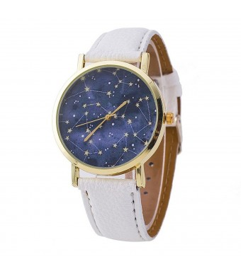 Ryanwayland Constellations Stars Print Unisex Leather Quartz Watch - White Gold