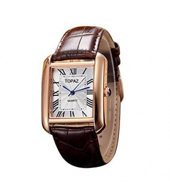 Topaz Unisex 5068AML White Face Brown Band Fashion Watch with Classic Design.