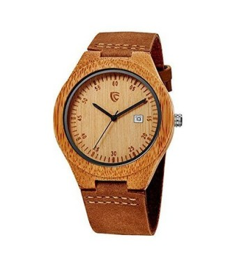 Cucol Wooden Watches Auto Date Genuine Leather Strap Bamboo Wrist Watches with Gift Box