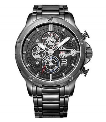 BUREI Men's BM-7009-P56EY Stainless Steel Chronograph Watch with Link Bracelet