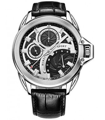 BUREI Men's BM-7012-P01EYA Stainless Steel Dress Watch with Black Leather Band