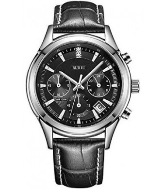 BUREI Men's SM-17005-P01E Date Stainless Steel Chronograph Quartz Watch with Black Leather, Black