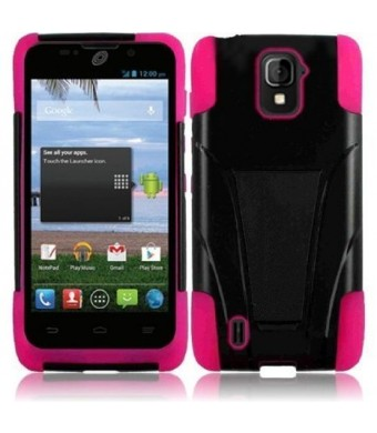 Highest Rated Wireless ZTE MAJESTY Z796C BLACK PINK HYBRID T KICKSTAND COVER HARD GEL CASE + FREE SCREEN PROTECTOR from [