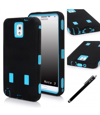 E LV N3-ARM-BLK/Blu Dual Layer Armor Defender Full Body Protective Case, Shock-Absorption High Resistant for Samsung Galaxy Note 3 Bundle with stylus, Black on Blue