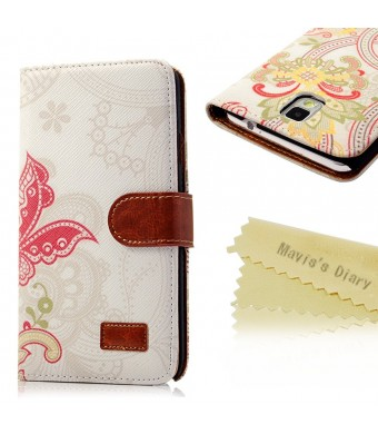 Note 3 Case, Galaxy Note 3 Case - Mavis's Diary Wallet Type Fashion Style Flower PU Leather Series Magnet Design Cover with Kickstand Card Holders for Samsung Galaxy Note 3 SM-N9000 - Butterfly