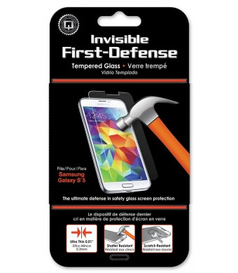 Qmadix Invisible First-Defense Tempered Glass 9H for Samsung Galaxy S5 - Retail Packaging - Clear