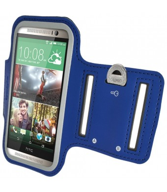 iGadgitz Reflective Anti-Slip Blue Sports Jogging Gym Armband for HTC One M8 (2014) With Key Slot