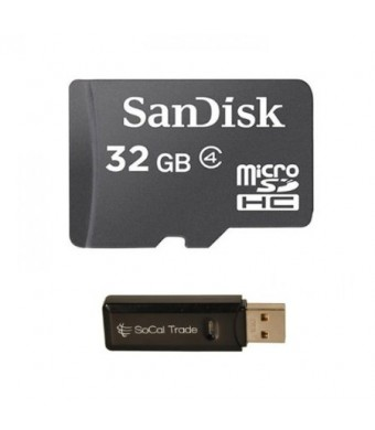 32GB SanDisk MicroSD HC MicroSDHC Memory Card 32G (32 Gigabyte) for LG G Pro 2 L90 L40 L70 G2 Mini F70 F90 L65 Optimus Exceed 2 Xpression 2 Zone 2 Extravert 2 with SoCal Trade, Inc. MicroSD and SD USB Memory Card Reader