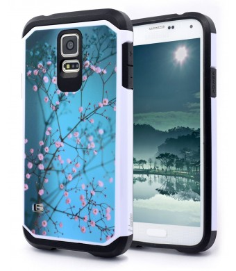 NageBee Hybrid Defender Case for Samsung Galaxy S5 - Teal Mimosa