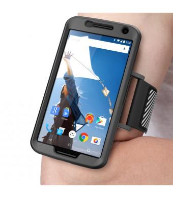 Nexus 6 Armband, SUPCASE Google Nexus 6 Armband Easy Fitting Sport Running Armband with Premium Flexible Case Combo for Motorola Nexus 6 (2014 Release), Black