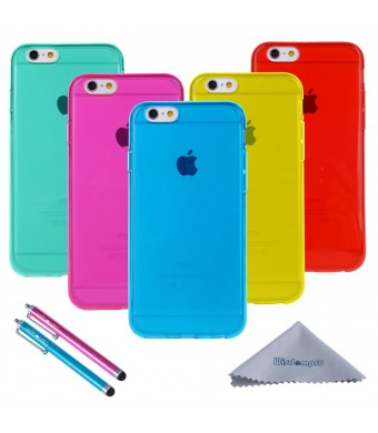 """iPhone 6 Case Clear, iPhone 6s Case, Wisdompro Bundle of 5 Pack [Extra Thin][Slim] Jelly Soft TPU Gel Protective Case Cover for Apple 4.7"""" iPhone 6/6s (Blue, Aqua Blue, Hot Pink, Yellow, Red)"""