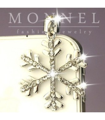Monnel IP615 Cute Clear Crystal Snowflake Cell Phone 3.5mm Ear Cap Anti Dust Plug Charm