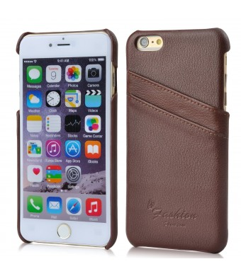 iPhone 6s plus Case, iPhone 6 plus Genuine Leather Case,AIYZE Cover Cases with Double Credit Card ID Holders 5.5 inch Covers Free Screen Protection Film ( Litchi Brown )