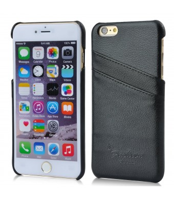 iPhone 6 Plus Case, AIYZE Apple iPhone 6 + Cover 5.5 Inch genuine Leather Wallet with Credit Card ID Holder Back Shell (Black)