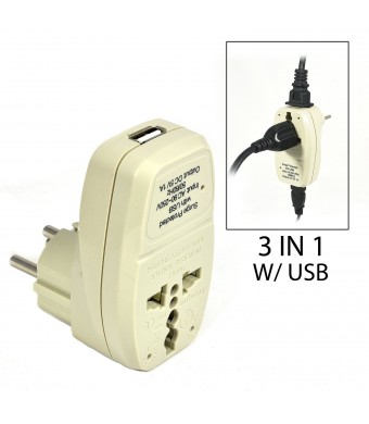 OREI 3 in 1 Israel Travel Adapter Plug with USB and Surge Protection - Grounded Type H - Palastine, Israel and More