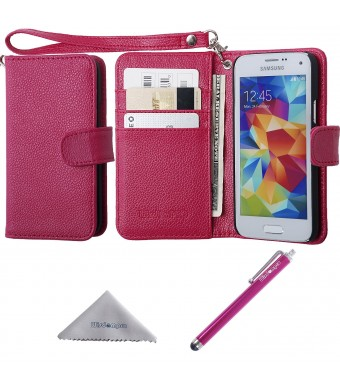 S5 Mini Case, Wisdompro Premium PU Leather 2-in-1 Protective [Folio Flip Wallet] Case with Credit Card Holder/Slots and Wrist Lanyard for Samsung Galaxy S5 Mini G800F G800H G800H/DS (NOT Fit S5) - Hot Pink