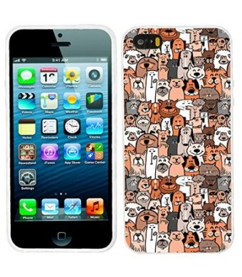 iPhone 5s Case, iphone5s case,iphone 5 case,iphone5 case, ChiChiC full Protective unique Stylish Case slim durable Soft TPU Cases Cover for iPhone 5 5g 5s,,cute doodle brown dogs and cats smile pet