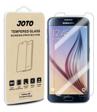 Galaxy S6 Tempered Glass Screen Protector - JOTO Samsung Galaxy S6 Premium Tempered Glass Screen Protector Film Guard 0.30 mm Rounded Edge Real Glass Screen Protector for Samsung Galaxy S6, SM-G920 (2015) (1 Pack)