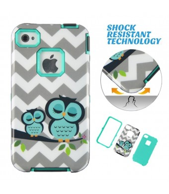 MagicSky Apple iPhone 4/4S Case, Cheveron Owl Pattern 3-in-1 Combo Hard Case Full Body Hybrid Impact Shockproof Defender Case Cover, Cyan