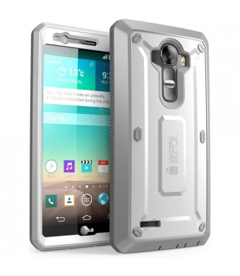 LG G4 Case, SUPCASE Full-body Rugged Holster Case with Built-in Screen Protector for LG G4 2015 Release, Unicorn Beetle PRO Series - Retail Package (White/Gray)