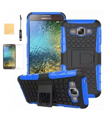 Galaxy E5 Case, ANLI(TM) Heavy Duty Series Tough Rugged Dual Layer Protection Case Cover with Build in Stand for Samsung Galaxy E5 E500,with Screen Protector, Stylus and Cleaning Cloth Blue