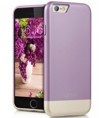iPhone 6S Case, VENA [iSlide] Dock-Friendly Slim Fit Hard PolyCarbonate Case for Apple iPhone 6S (2015) / iPhone 6 (2014) - Lavender / Champagne Gold