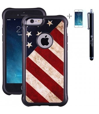 iPhone 6 6s Case, True Color Patriotic Vintage American Flag Emboss Printed Impact Resistant TPU Protective Anti-slip Grip Snap-On Soft Rugged Cover for iPhone 6/6s + FREE Stylus and Screen Protector