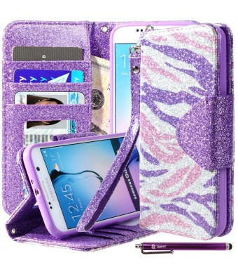 Galaxy S6 Case, S6 Bling Flip Case, Style4U [Everlasting Shine] Premium Zebra Print PU Leather Stand Wallet Case with ID Credit Card / Cash Slots for Samsung Galaxy S6 + 1 Stylus [Purple Pink Zebra / Purple]