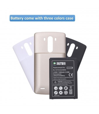IBESTWIN 6000mah Extended Phone Battery Replacement for LG G3, VS985(Version), D851(T-Mobile), D850(ATT), LS990(Sprint) with 3 Back Cover Cases