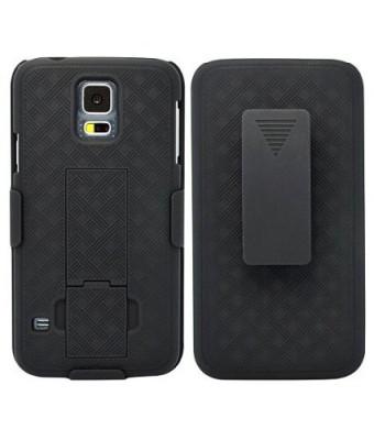 Selna Verizon Samsung Galaxy S5 (SM-G900V) Compatible Black Hard Shell Case Combo Cover Holster Swivel B