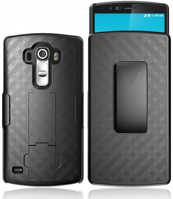 LG G4 case, E LV LG G4 (HOLSTER) Case Cover - Full Body Protection Belt Clip- case cover forLG G4 with 1 microfiber cleaning cloth- BLACK
