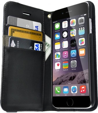 """iPhone 6/6s Wallet Case - Folio Wallet Case for iPhone 6/6s (4.7"""") by Silk - Protective Portfolio Cover with Foldable Kickstand (Slate Black)"""