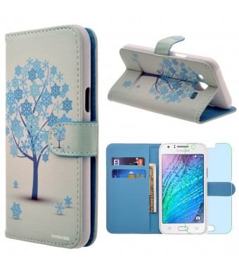 Samsung Galaxy J7 / J700 Case, INNOVAA Premium Leather Wallet Case (Not Compatible with Samsung Galaxy J7 (2016)) With STAND Flip Cover W/ Free Screen Protector and Stylus Pen - Winter Tree