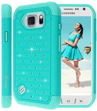 S6 Active Case, Galaxy S6 Active Case, Style4U Studded Rhinestone Crystal Bling Hybrid Armor Case Cover for Samsung Galaxy S6 ActiveDoes Not Fit Galaxy S6 with 1 Style4U Stylus [Teal / Mint Green]