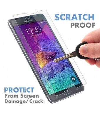 Samsung Galaxy Note 4 Glass Screen Protector by Voxkin - Protect, Shield and Guard Your Note4 Screen From Scratch, Drop and Impact with HD Invisible Tempered Protective Cover - Looks Great on Any Cases