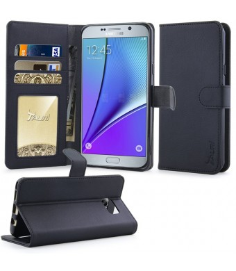 Note 5 Case, Tauri [Stand Feature] Wallet Leather Case with Stand, ID and Credit Card Pockets Flip Cover For Samsung Galaxy Note 5 - Black